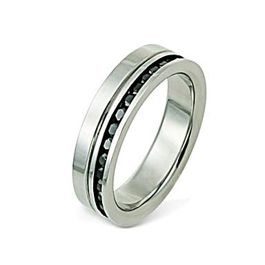 titanio hombres de la manera con el anillo de acero de circonio cúbico cz (rss18)