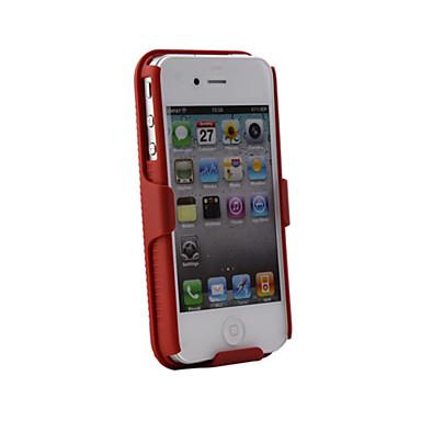 shell + fondina caso clip cintura per iPhone combinata 4 (rosso)