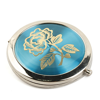 élégante tour double pliage côté compact de poche de maquillage inox miroir bleu 2 pcs