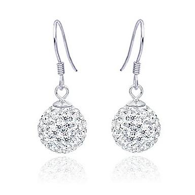 Plata de ley 925 con el platino plateado pendientes con diamantes de imitación brillante