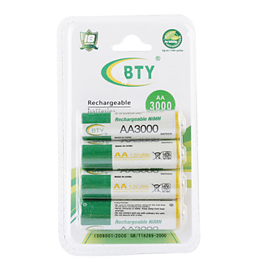 bty 3000mAh AA Ni-MH oplaadbare batterij set (4-pack)
