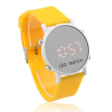 Unisex Jelly Sports Style Round Mirror Face Red Light LED Wrist Watch - Yellow
