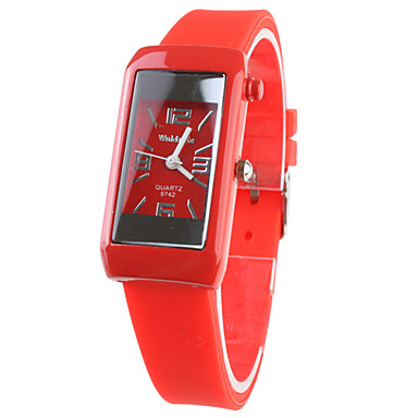 analógico de quartzo relógios de pulso das mulheres (vermelho)