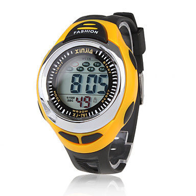Heren Sporthorloge Digitaal LCD Kalender Chronograaf Waterbestendig alarm Silicone Band Zwart Zwart/Geel