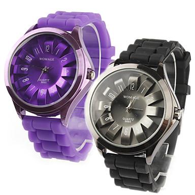 菊形の金属製のダイヤルデザインクオーツ腕時計のペア - 黒と紫
