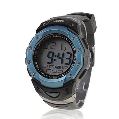 Erkek Spor Saat Dijital LCD Takvim Kronograf Su Resisdansı alarm Bant Siyah Siyah ve Mavi