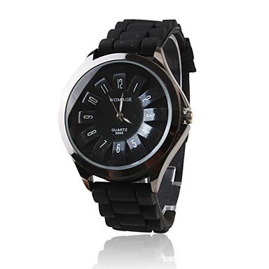 Orologio alla moda, al quarzo, con cinturino in silicone nero