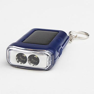 Portable 1-Mode 2-LED Flashlight (100LM, Solar-Powered, Blue)