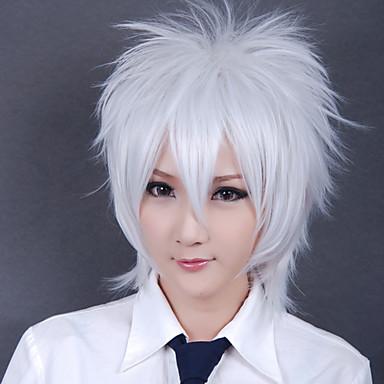Cosplay Perukları Gintama Gintoki Sakata Anime Cosplay Perukları 30 CM Isı Dirençli Fiber Erkek