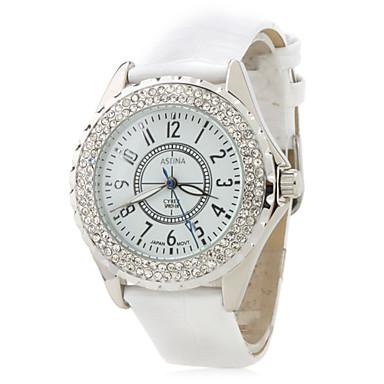 Women's Fashion Diamond Case Leather Band Japan Quartz Watch Cool Watches Unique Watches
