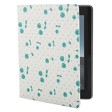 kirsikka kuvio pu nahkainen jalusta iPad 2/3/4 (valkoinen)