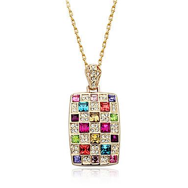 lureme®luxury bunten Diamanten Quadrat Halskette