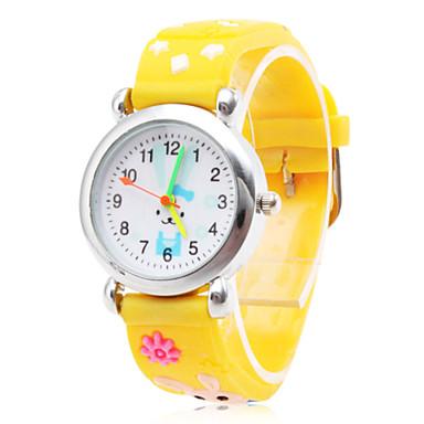 mignon de silicone analogique montre-bracelet à quartz avec le lapin de bande dessinée (jaune)