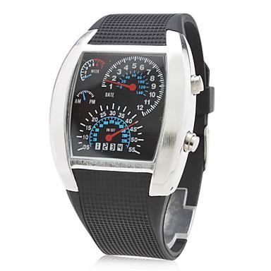 f86683390 letectví pánské gumové Digitální LED náramkové hodinky s pouzdrem (černá)