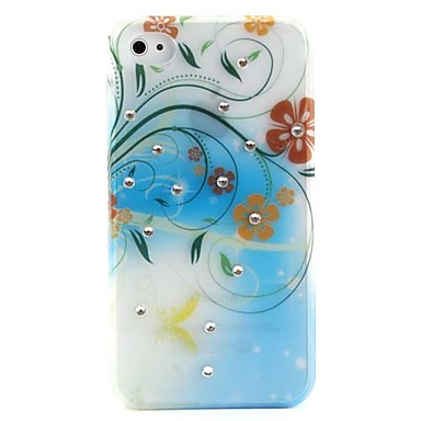 Flowers and Leaf Pattern Protective Ultra Thin Hard Case for iPhone 4 and 4S