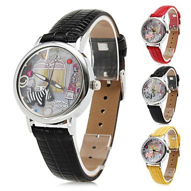Women's Shopping Hour Design PU Analog Quartz Wrist Watch (Assorted Colors)