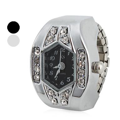 Kadın's Yüzük Saat Japonca Quartz imitasyon Pırlanta Bant Analog Işıltılı Gümüş - Beyaz Siyah