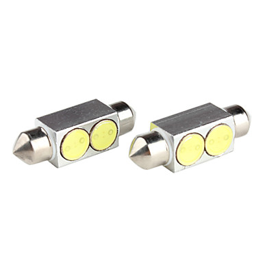 39mm 2W 5050 SMD 2-LED White Light Festoon Bulb for Car Reading Lamps (2-Pack, DV 12V)