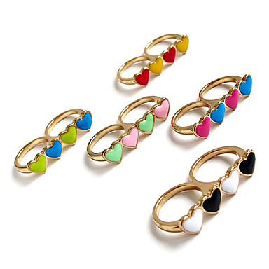 Four-Hearts Shape Double Ring (Random Colors)