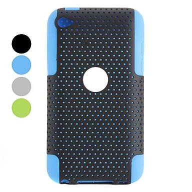 avtagbar konstruktion plast och silikon fodral för iPod touch 4 (blandade färger)