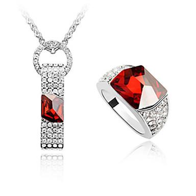 aleación y cristal anillo de diamantes de platino forma el collar plateado