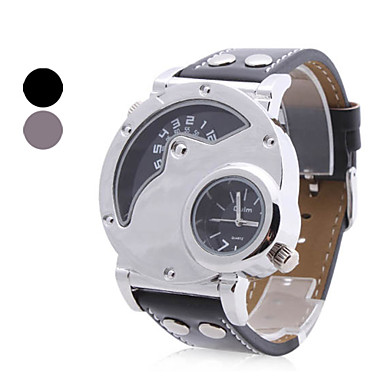 Analogt Quartz-ur i PU-läder (2 tidzoner, blandade färger)