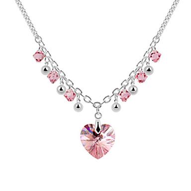aleación y la forma cristalina hermosa corazón collar de platino plateado