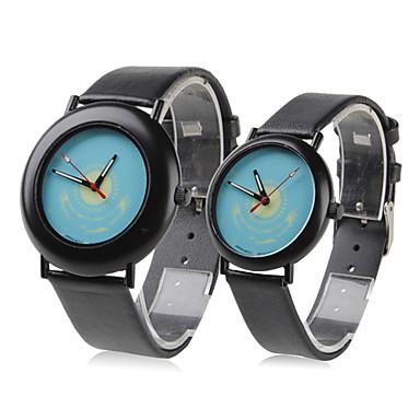 Couple Style Unisex PU Analog Quartz Wrist Watch (Black)