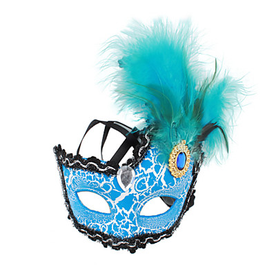 Halvdelen Feather Maske med Diamond til Halloween Masquerade Party
