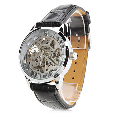 Men's PU Analog Mechanical Wrist Watch with Hollow Engraving (Black) Cool Watch Unique Watch