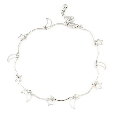 Moon and Stars Sliver Bracelet de cheville plaqué