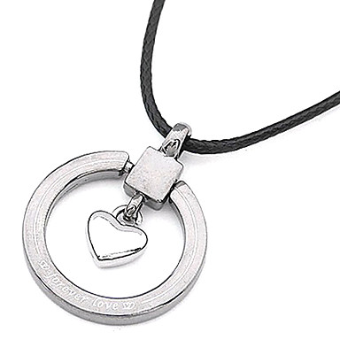 Silver Plated Love Heart Circle Alloy Necklace