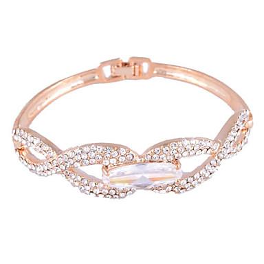 Crystal Inlaid Wavy Line Alloy Bracelet