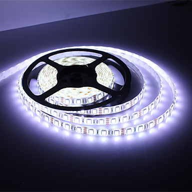 vandtæt 5M 300x5050 SMD hvid lys LED lyskæde med AC Adapter Sæt (100-240V, 2-Pakke)