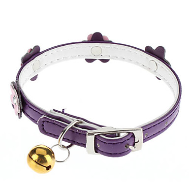 Cat / Dog Collar With Bell Pink / Purple PU Leather