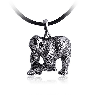 Men's The Silver Gorilla Alloy Necklace With Leather Cord