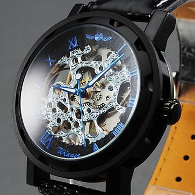 WINNER Heren Polshorloge mechanische horloges Hol Gegraveerd Handmatig opwindmechanisme Leer Band Luxueus Zwart
