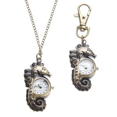 Unisex Sea Horse Stil Legierung Analog Quarz Schlüsselbund Halskette Uhr (Bronze)