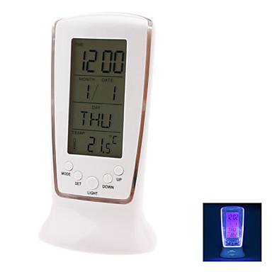 sininen taustavalo digitaalinen LCD musiikin herätyskello kalenteri lämpömittari (valkoinen, 3xAAA)