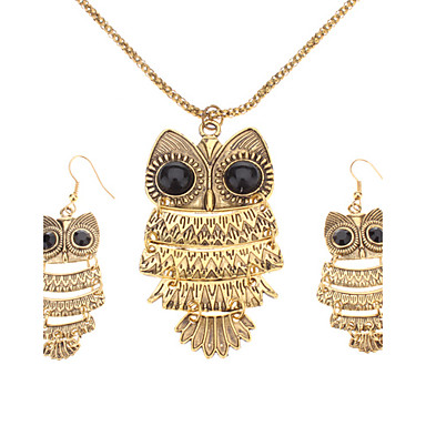 Women's Jewelry Set Party Birthday Engagement Gift Daily Pearl Crystal Alloy Owl Earrings Necklaces