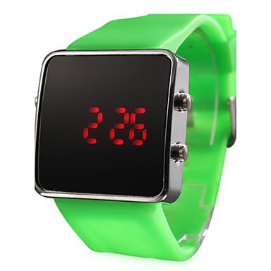 Reloj Pulsera de LED y Correa de Goma Verde - Unisex