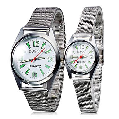 Paar Staal Analoog Quartz Stel Horloges (Silver)