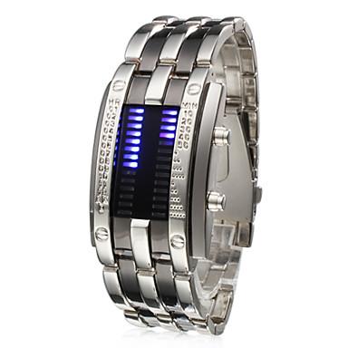 남성용 손목 시계 독특한 창조적 인 시계 디지털 달력 LED 스테인레스 스틸 밴드 실버