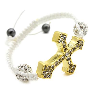 pulsera de la cruz de oro (blanco)