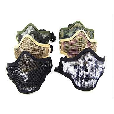 Multi-Color pustende Airsoft rustfritt stål Mesh Skull Mask (Assorterte farger)