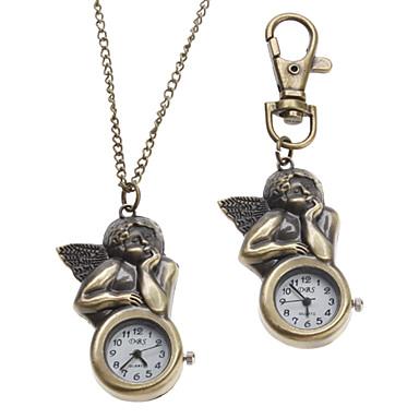 Unisex Engel Stil Alloy Analog Quarz Schlüsselbund Halskette Uhr (Bronze)