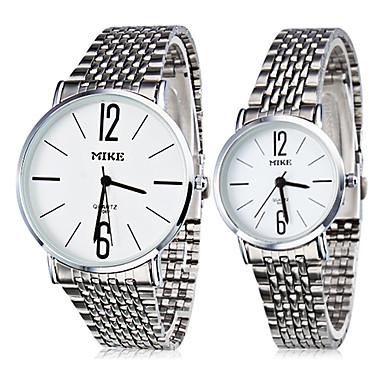 Paar casual stijl Steel Quartz Analoog Couple's Horloges (Silver)