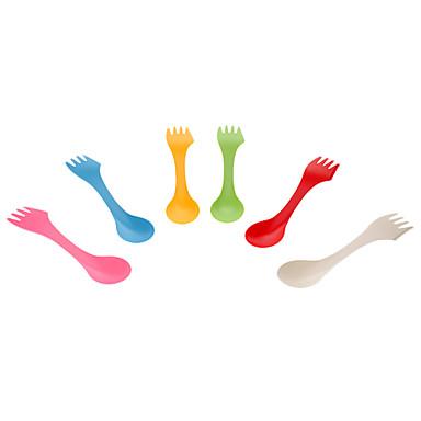Creativo Colorido 3-en-1 Tenedor Cuchillo Cuchara Set (6-Pack)