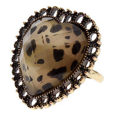 z&corazón del estampado leopardo x® anillo ahuecado