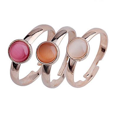 lureme®3 pcs ópalos decoración conjunto anillo ajustable de la aleación